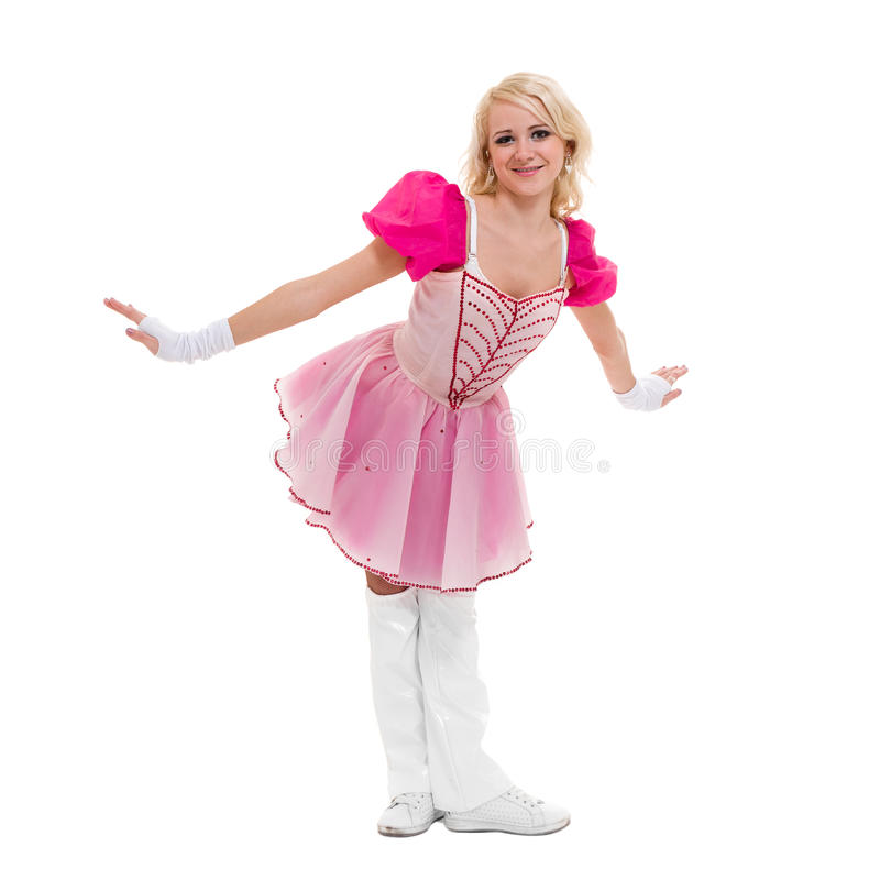 Disco dancer showing some movements against isolated white. Disco dancer woman showing some movements against isolated white background stock images
