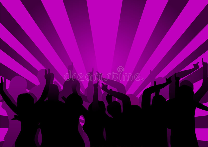 Disco Dancers. A group of dancers in silhouette against a purple background. The additional format is saved as a vector in AI8 EPS format. The additional format royalty free illustration