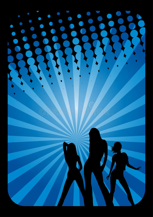 Disco dancers background royalty free illustration