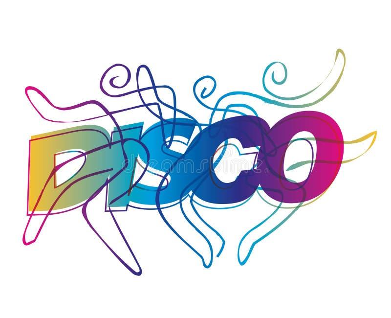 Disco dancers line art. Disco Dancers silhouettes on the colorful inscription Discoy. Vector available vector illustration