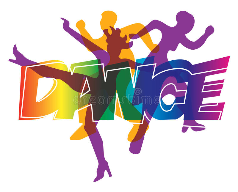 Disco dancers. Disco and modern dancing Dancers silhouettes on the colorful inscription Dance. Vector illustration royalty free illustration