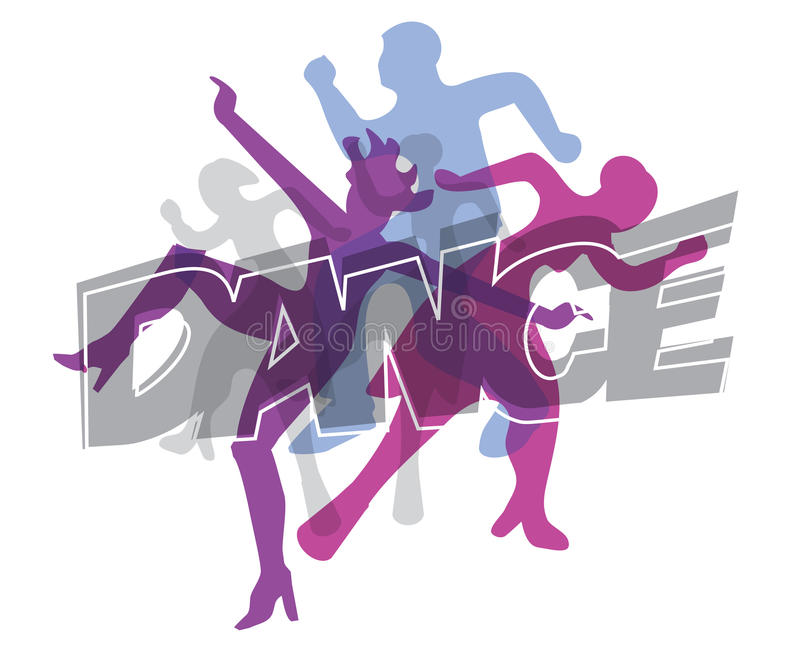 Disco dancers. Disco and modern dancing Dancers silhouettes on the colorful inscription Dance. Vector illustration vector illustration