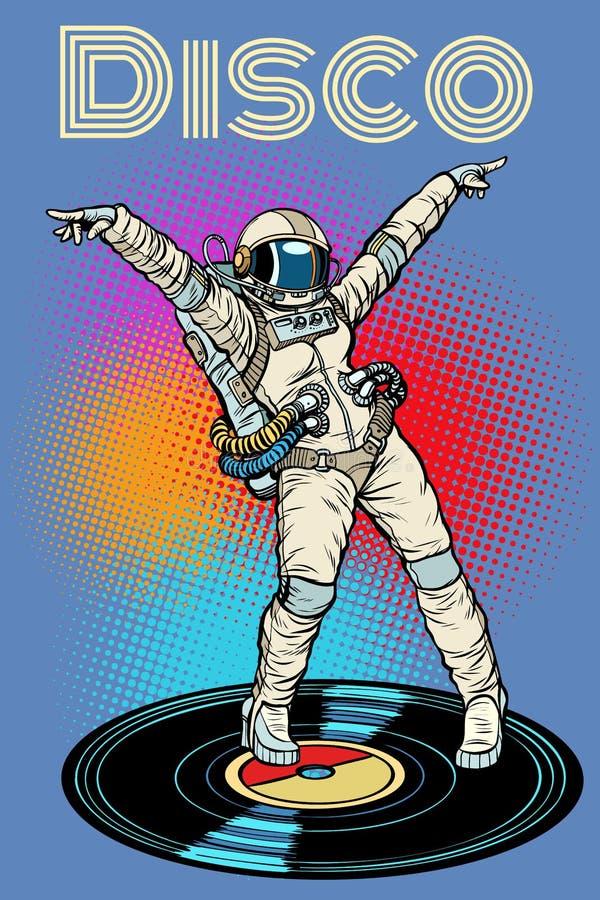 disco Danse d'astronaute de femme illustration de vecteur