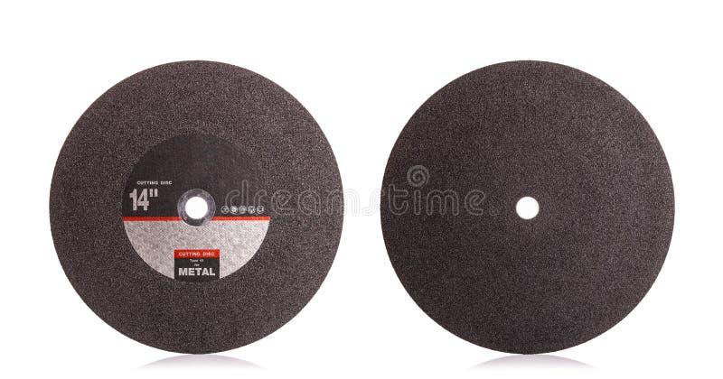 disco de corte preto novo de 14 polegadas para o metal isolado no branco fotografia de stock