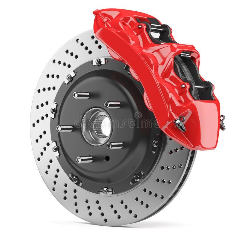 Disco de freio do automóvel e compasso de calibre vermelho ilustração do vetor