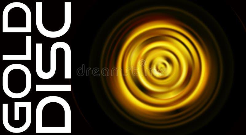 Disco de gerencio do ouro isolado no preto Teste padrão do gráfico de vetor ilustração stock