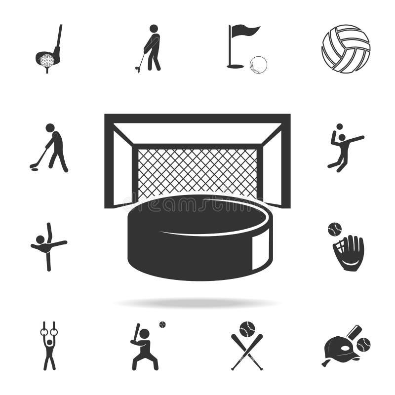 Disco de hóquei e ícone das portas Grupo detalhado de ícones dos atletas e dos acessórios Projeto gráfico da qualidade superior U ilustração royalty free