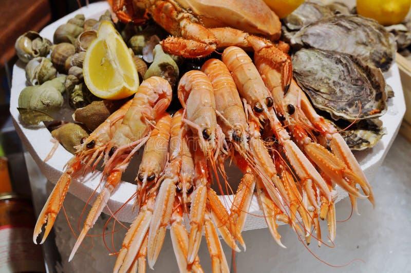 Disco de los mariscos del mer de fruits de la meseta en Francia imagen de archivo