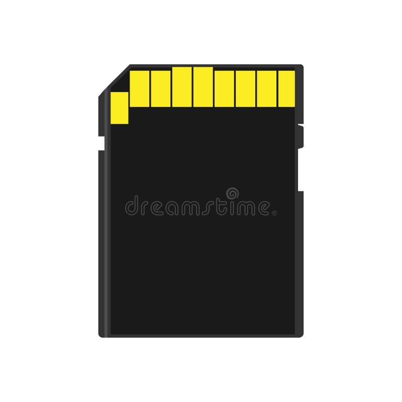 Disco de memoria USB del icono del vector del adaptador de la tienda del símbolo de la opinión de parte posterior de tarjeta de m ilustración del vector