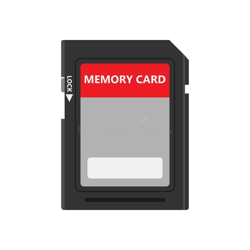 Disco de memoria USB del icono del vector del adaptador de la tienda del símbolo de la vista delantera de la tarjeta de memoria M stock de ilustración