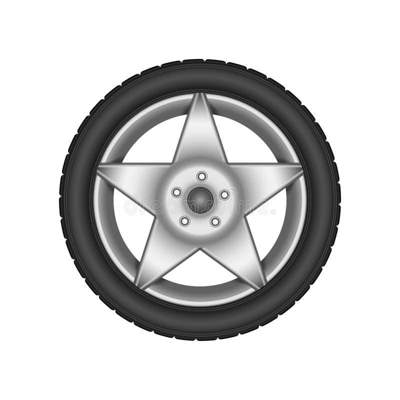 Disco de prata da roda Projeto do vetor Fundo branco Solução perfeita para anunciar a loja do pneu ilustração royalty free