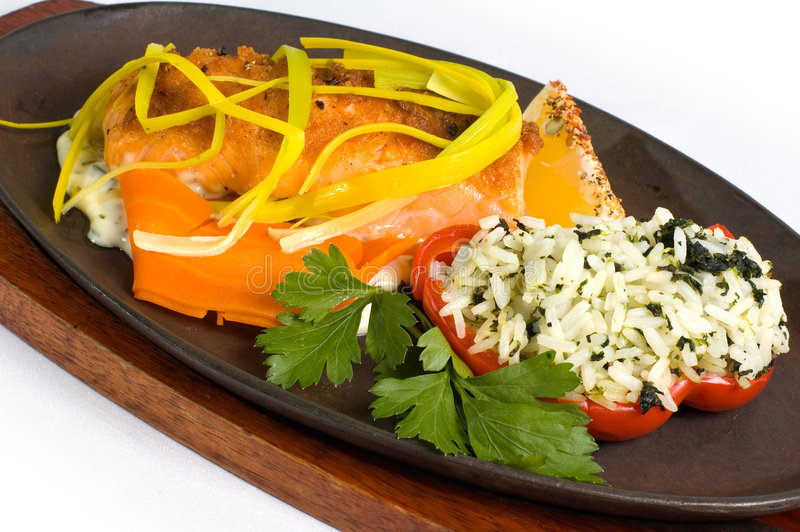 Disco de salmones y del arroz imagen de archivo