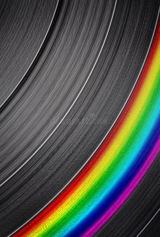 Disco de vinilo con la raya colorida imagen de archivo libre de regalías