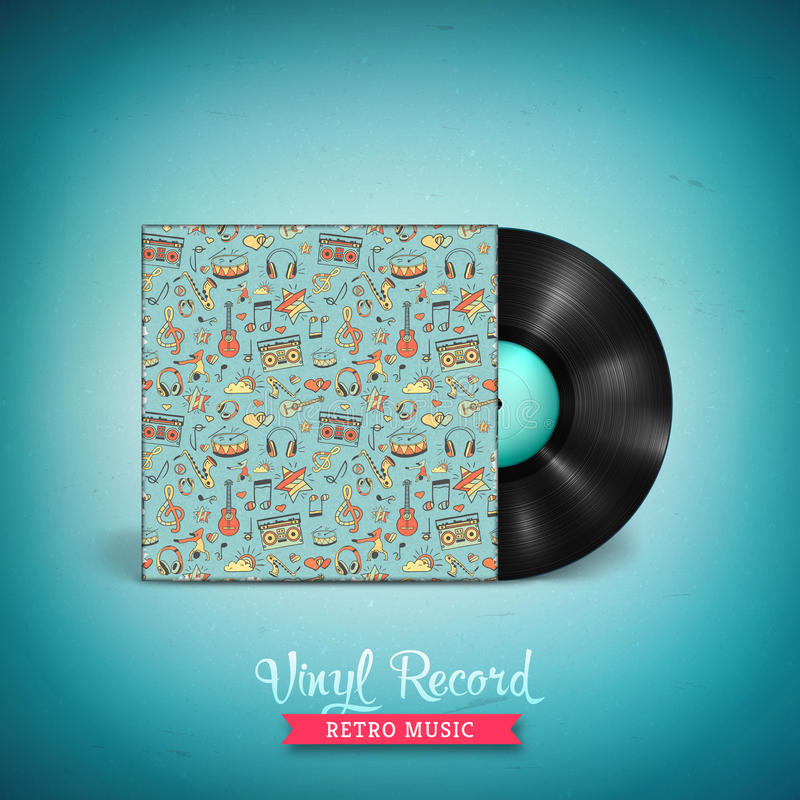 Disco de vinilo de larga duración realista de LP con la maqueta de la cubierta libre illustration