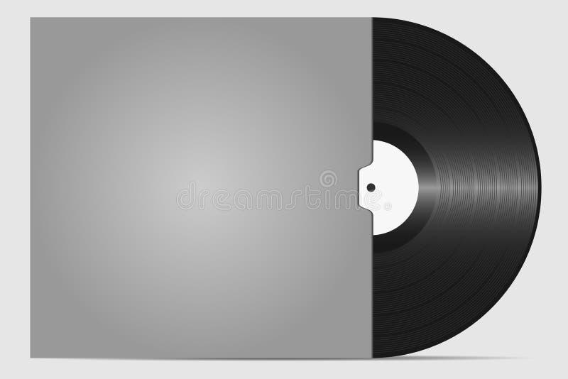 Disco de vinilo en un sobre a la placa Portador sano retro Placa para el rasguño de DJ ilustración del vector