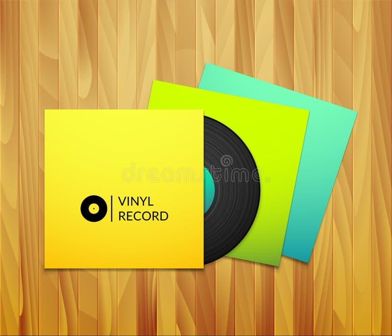 Disco de vinilo negro del vintage con el azul amarillo en blanco libre illustration