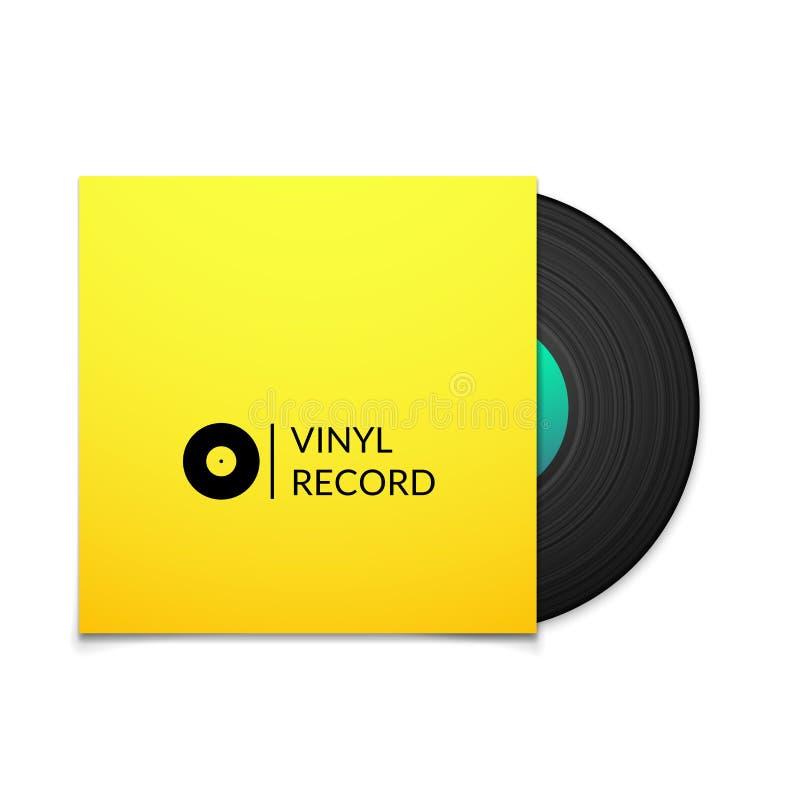 Disco de vinilo negro del vintage con la cubierta amarilla en blanco ilustración del vector