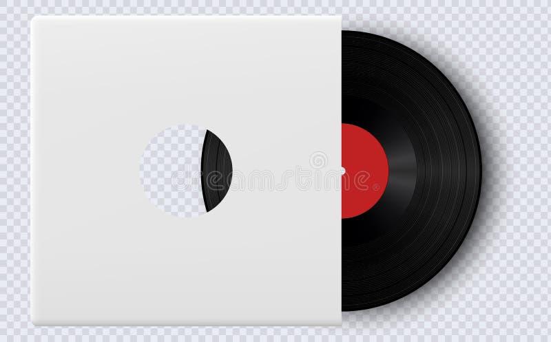 Disco de vinilo realista con la maqueta de la cubierta Disco de vinilo del gramófono con la etiqueta ilustración del vector