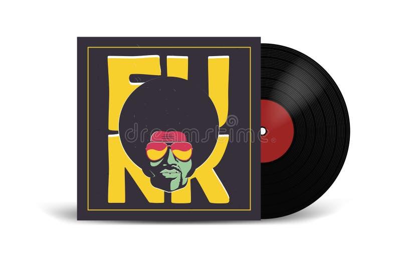 Disco de vinilo realista con la maqueta de la cubierta Partido del disco Diseño retro Front View ilustración del vector