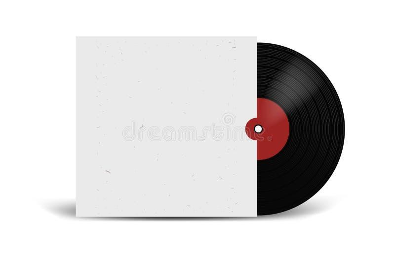 Disco de vinilo realista con la maqueta de la cubierta Partido del disco Diseño retro Front View stock de ilustración