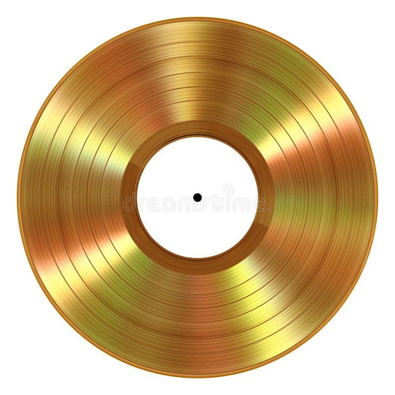 Disco de vinilo realista del oro en el fondo blanco ilustración del vector