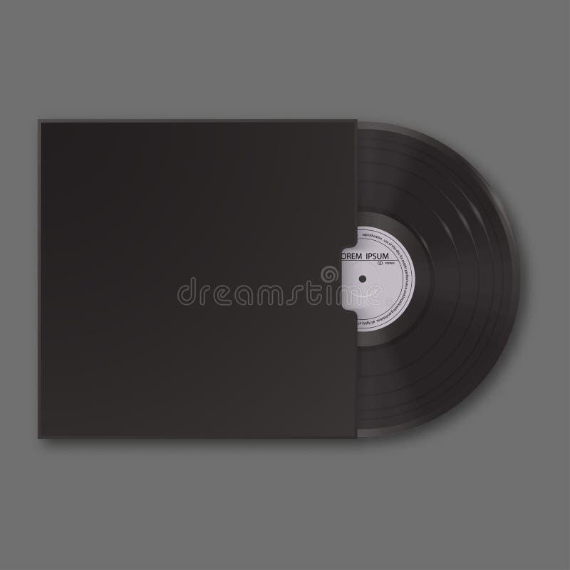 Disco de vinilo realista en manga Mofa negra del espacio en blanco para arriba aislada en fondo gris stock de ilustración