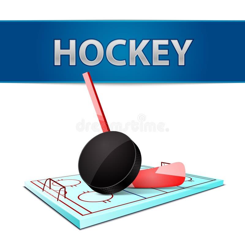 Disco del bastone di hockey ed emblema dell'arena del ghiaccio illustrazione vettoriale