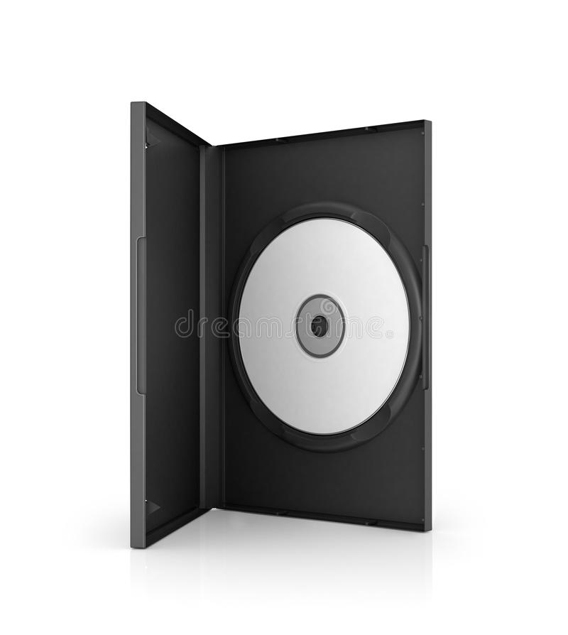 Disco del dvd del computer nel caso, fotografia stock