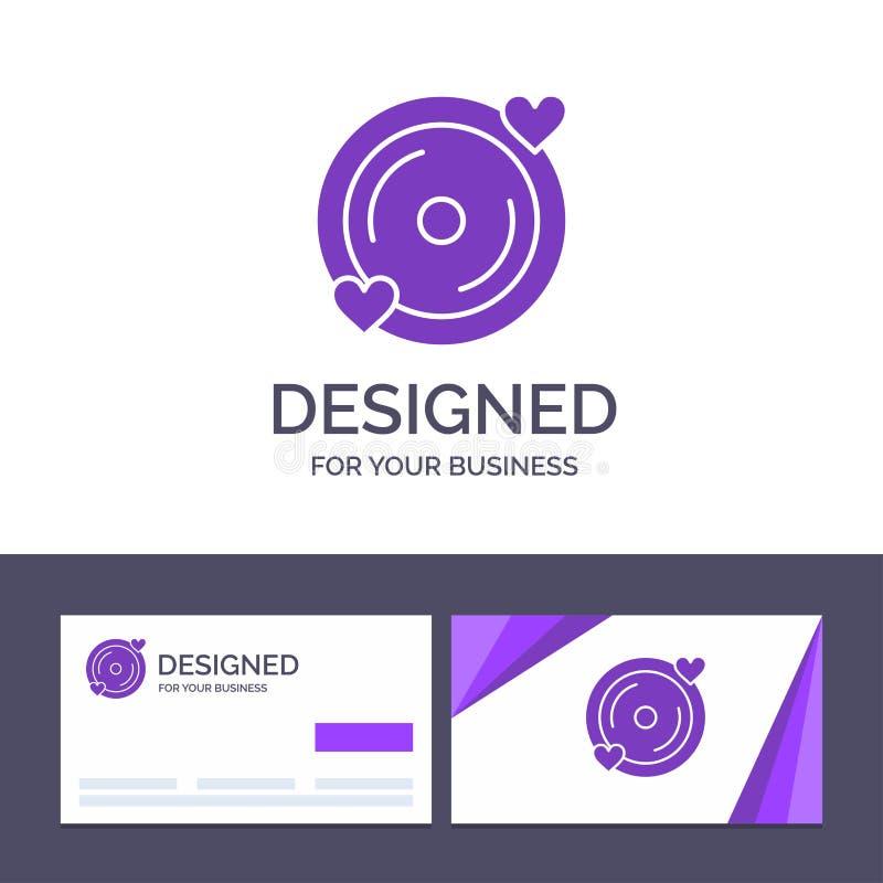 Disco del modello creativo di logo e del biglietto da visita, amore, cuore, illustrazione di vettore di nozze royalty illustrazione gratis