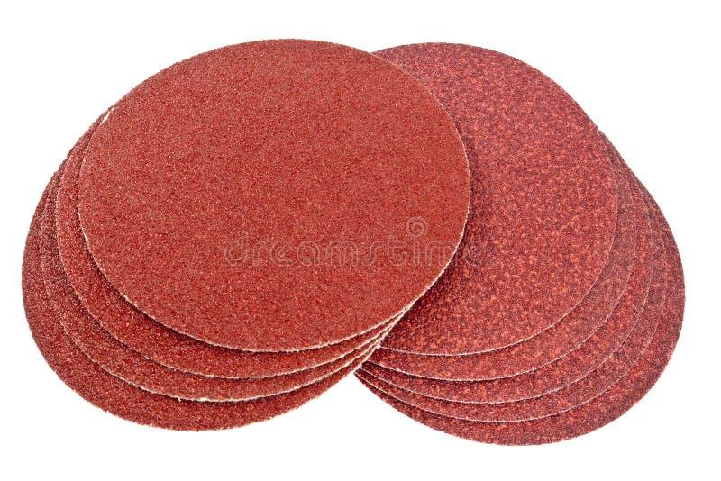 Disco del papel de lija marrón imagenes de archivo