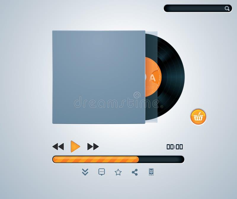 Disco del vinilo del vector en jugador de música del sobre stock de ilustración
