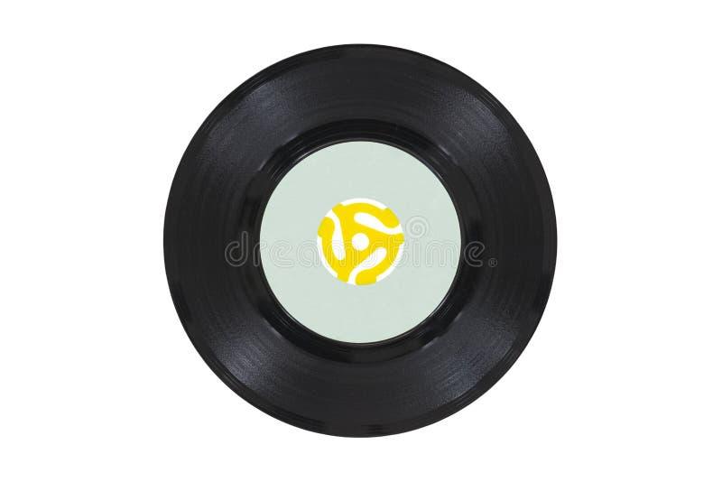 Disco del vinilo del vintage con el adaptador amarillo fotos de archivo libres de regalías