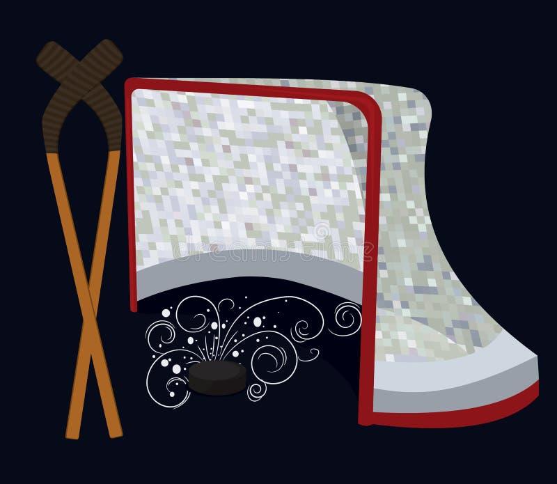 Disco di gomma, bastone e rete di hokey del ghiaccio illustrazione vettoriale