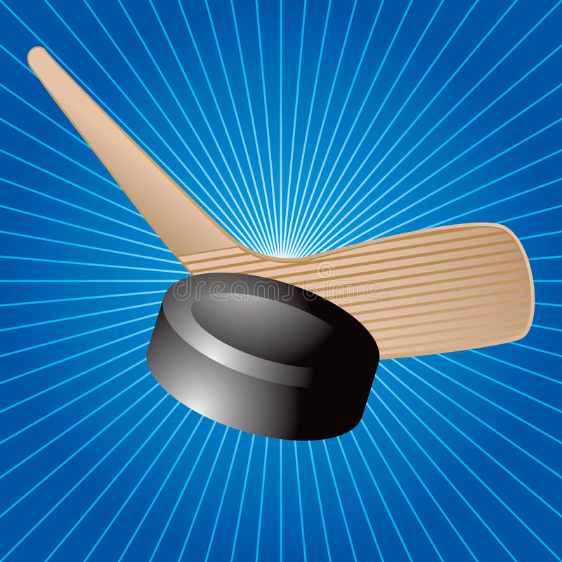 Disco di gomma e bastone di hokey su starburst blu illustrazione vettoriale