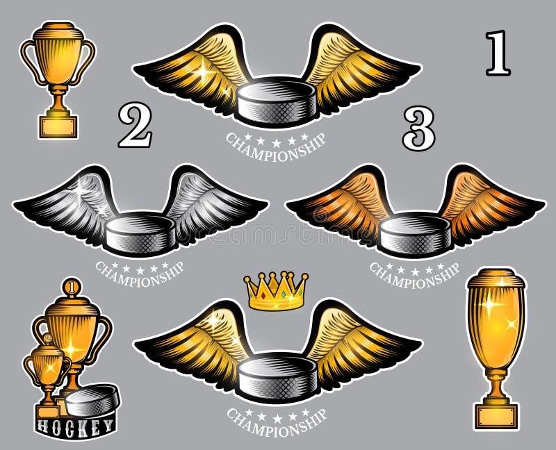 Disco di hockey con le ali e la corona Logo di sport di vettore per qualsiasi gruppo illustrazione di stock