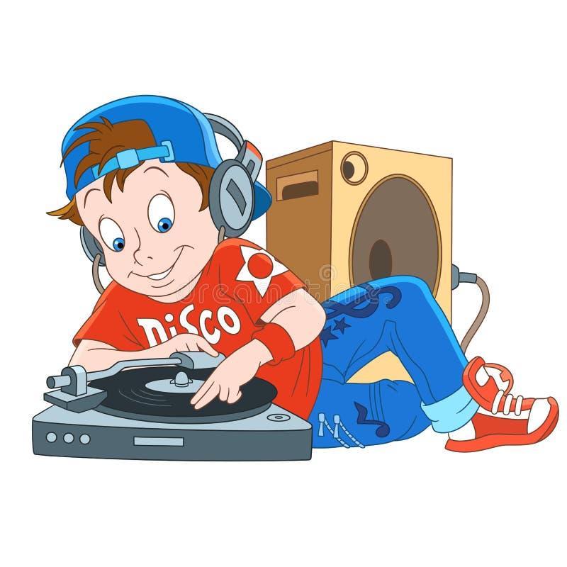 Disco DJ, disk jockey de la música de la historieta ilustración del vector