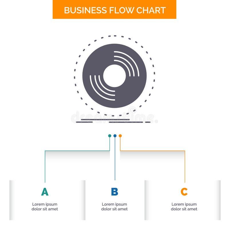 Disco, DJ, fonógrafo, expediente, diseño del organigrama del negocio del vinilo con 3 pasos Icono del Glyph para el lugar de la p ilustración del vector