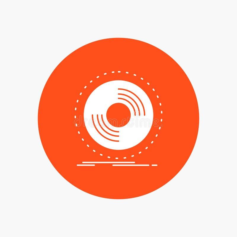 Disco, DJ, fonógrafo, expediente, icono blanco del Glyph del vinilo en círculo Ejemplo del bot?n del vector ilustración del vector