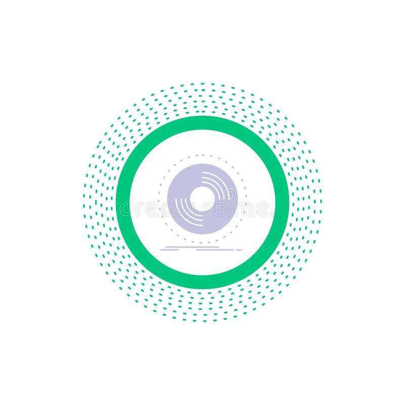 Disco, DJ, fonógrafo, expediente, icono del Glyph del vinilo Ejemplo aislado vector libre illustration