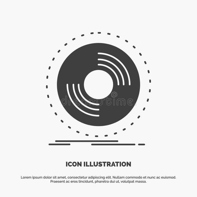 Disco, DJ, fonógrafo, expediente, icono del vinilo s?mbolo gris del vector del glyph para UI y UX, p?gina web o aplicaci?n m?vil ilustración del vector