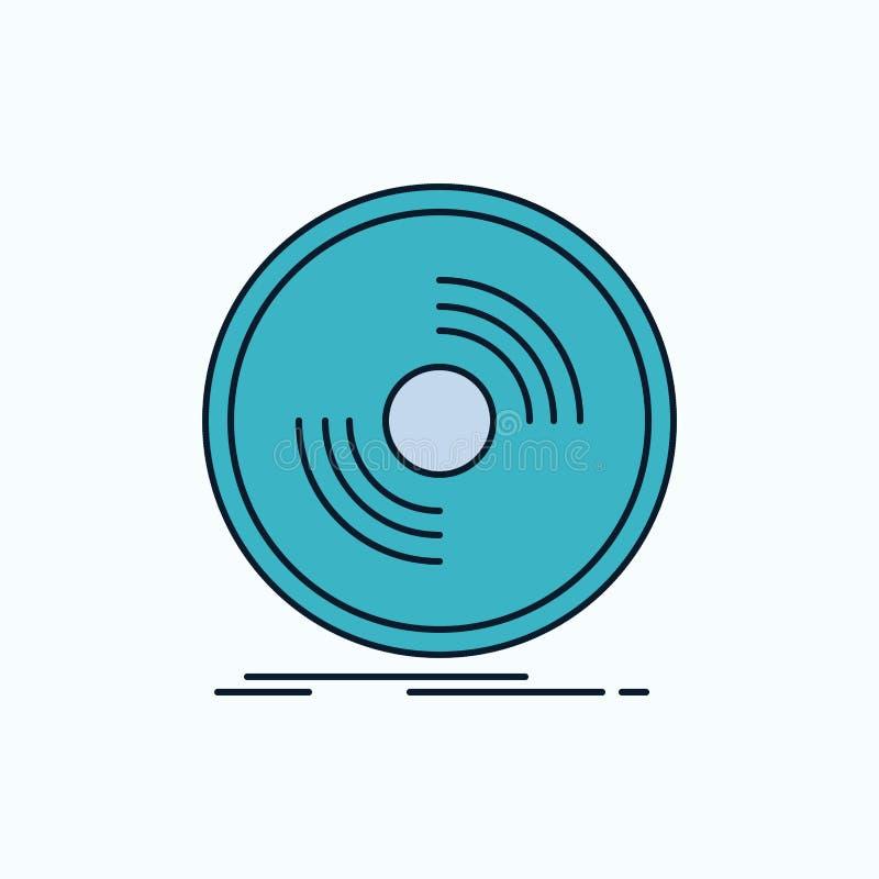 Disco, DJ, fonógrafo, expediente, icono plano del vinilo muestra y s?mbolos verdes y amarillos para la p?gina web y el appliation libre illustration