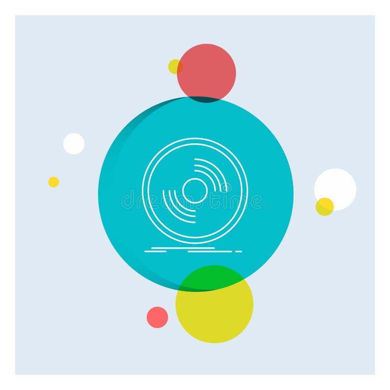 Disco, DJ, fonógrafo, expediente, línea blanca fondo colorido del vinilo del círculo del icono ilustración del vector