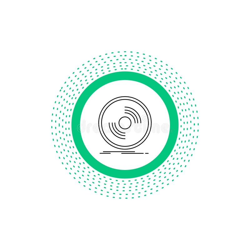 Disco, DJ, fonógrafo, expediente, línea icono del vinilo Ejemplo aislado vector libre illustration