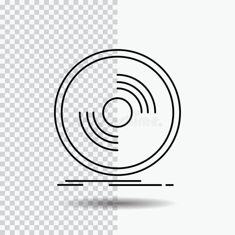 Disco, DJ, fonógrafo, expediente, línea icono del vinilo en fondo transparente Ejemplo negro del vector del icono ilustración del vector