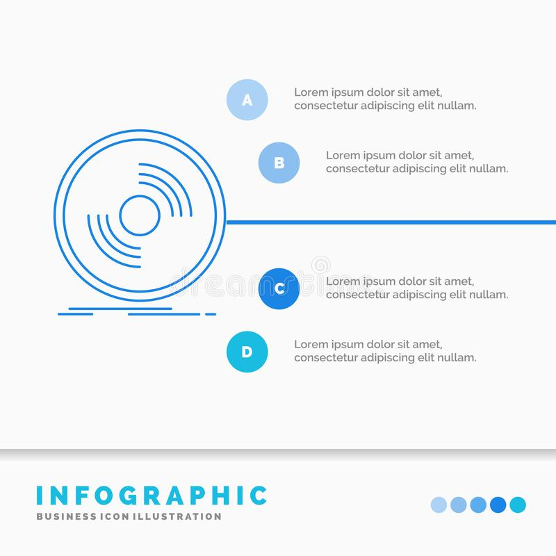 Disco, DJ, fonógrafo, expediente, plantilla de Infographics del vinilo para la página web y presentación L?nea vector infographic libre illustration