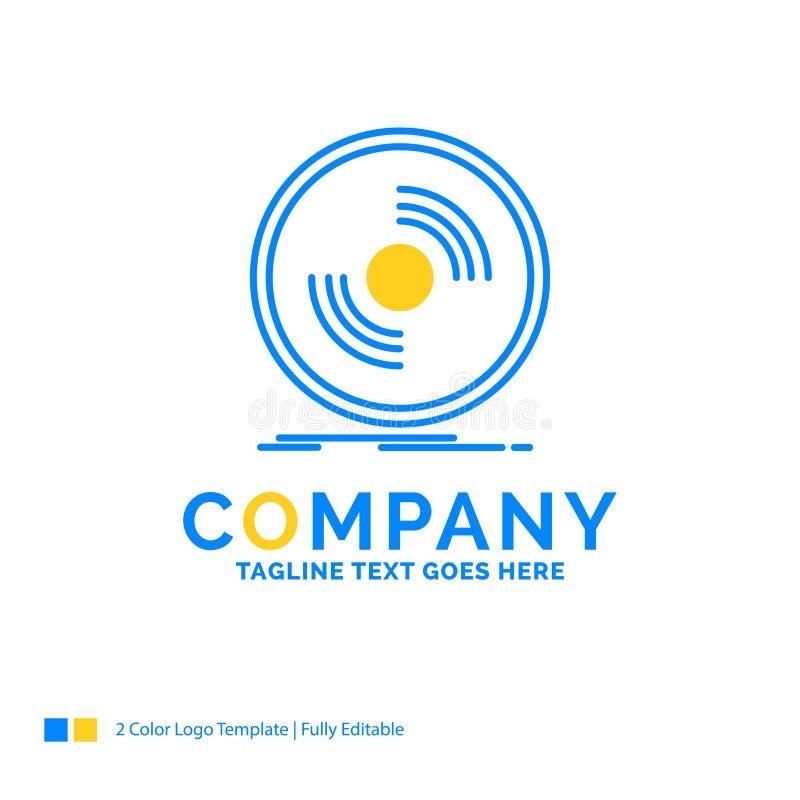 Disco, DJ, fonógrafo, expediente, te amarillo azul del logotipo del negocio del vinilo stock de ilustración