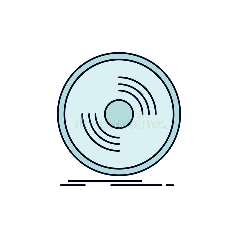 Disco, DJ, fonógrafo, expediente, vector plano del icono del color del vinilo stock de ilustración