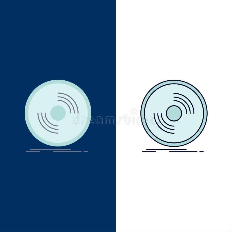 Disco, DJ, fonógrafo, expediente, vector plano del icono del color del vinilo libre illustration