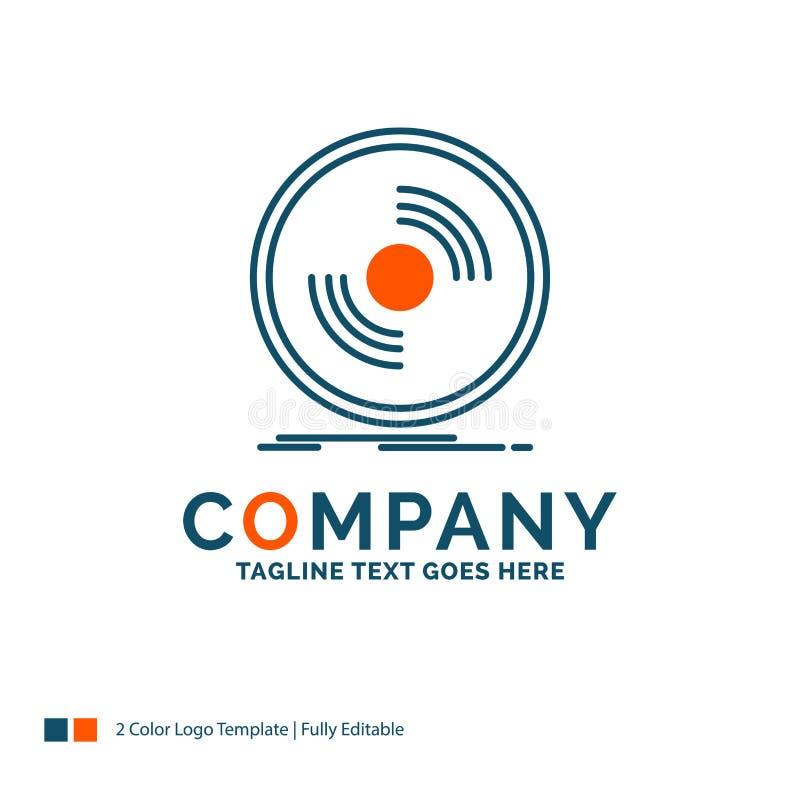 Disco, DJ, fonógrafo, expediente, vinilo Logo Design Azul y naranja ilustración del vector