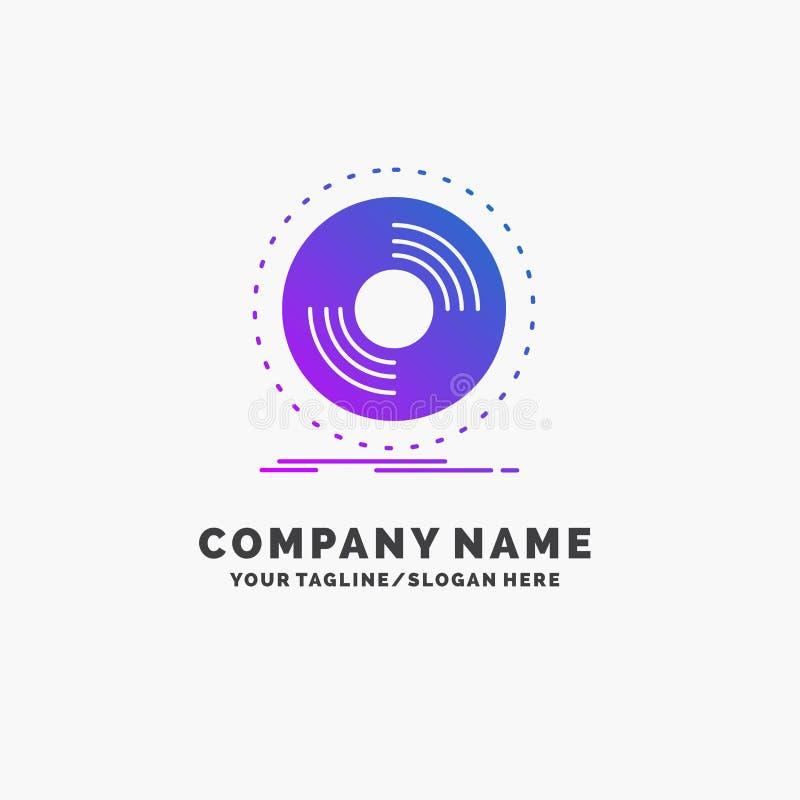 Disco, DJ, fonografo, annotazione, affare porpora Logo Template del vinile Posto per il Tagline illustrazione di stock